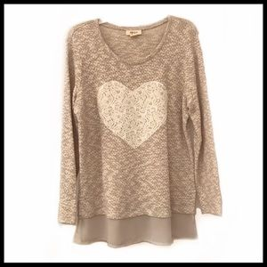 NWOT Style and Co Heart sweater with extended hem